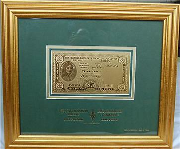 £5 Gold Lavery Note Framed LTD Edition Ireland Irish