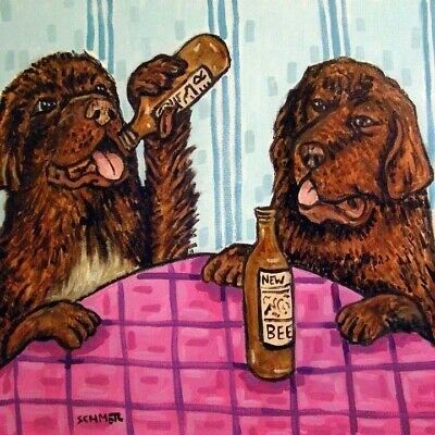 Newfoundlands beer bar picture dog art tile coaster
