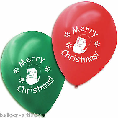 20 Merry Christmas Printed Red Green Latex Balloons SANTA