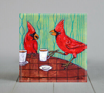 cardinals at coffee shop ceramic animal bird art tile impressionism animals