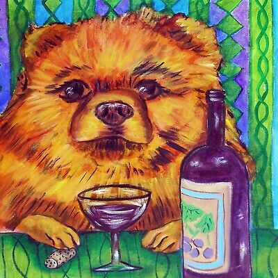 pomeranian at the wine bar picture dog  art tile coaster gift schmetz