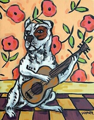 Pit Bull Terrier guitar dog Print art of painting 8x10 impressionism animals