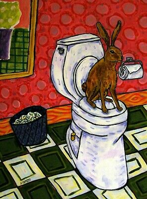 bunny rabbit in the bathroom 13x19 art print poster