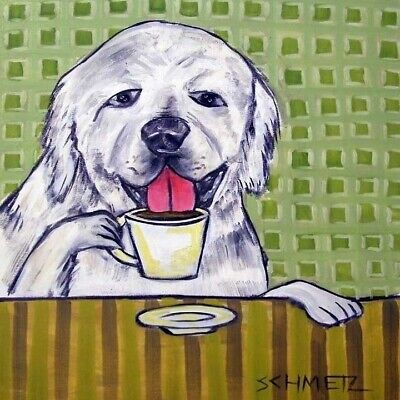 great pyrenees coffee animal dog art tile coaster gift
