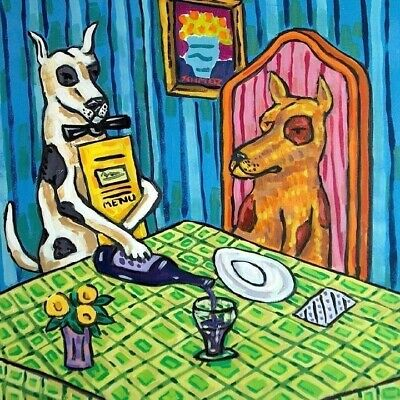 great dane dog wine waiter ceramic art tile coaster
