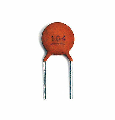 100pc Disc Ceramic Capacitor 0.1uF 104 50V Y5V +80-20% RoHS Pitch=5mm