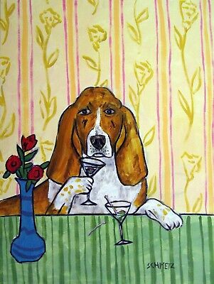 basset hound martini picture animal dog art tile coaster gift