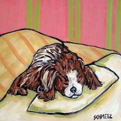 Cavalier King charles sleep picture animal dog art tile