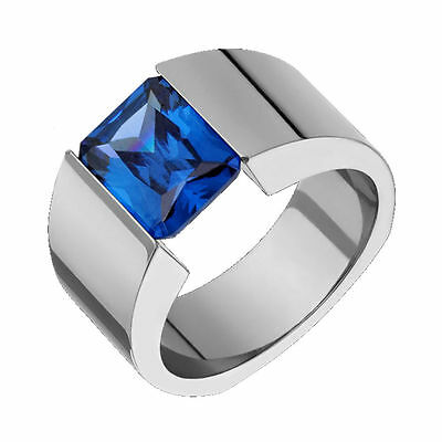 Alain Raphael Titanium Ring with Baby Blue Topaz Tension Set 5mm Wide Wedding Band