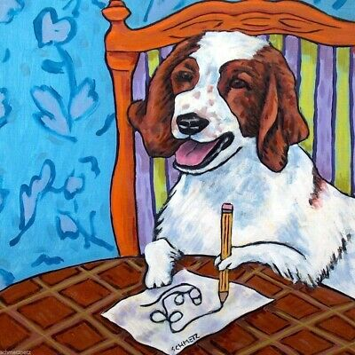 english springer spaniel artist dog art tile coaster