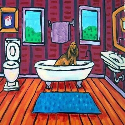 bloodhound taking a bath bathroom art tile coaster gift dog gifts artwork