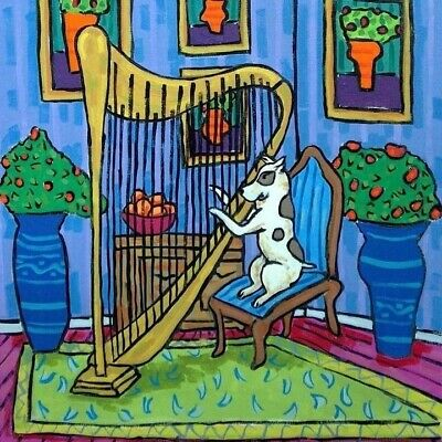 pit bull playing harp picture on dog art tile coaster