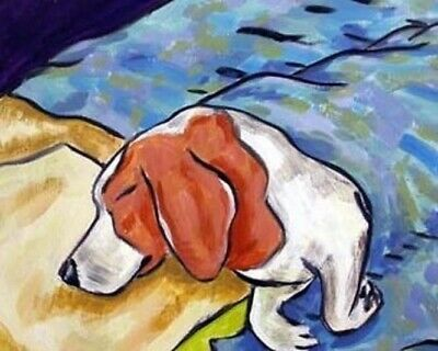 Beagle dog sleep painting ART PRINT poster picture 8x10