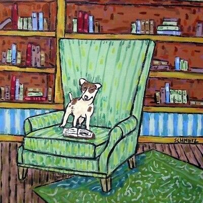 rat terrier read in chair study decor dog animal art tile coaster gift librarian