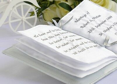Silver Book Shaped Personalised Wedding Ring Cushion in presentation box