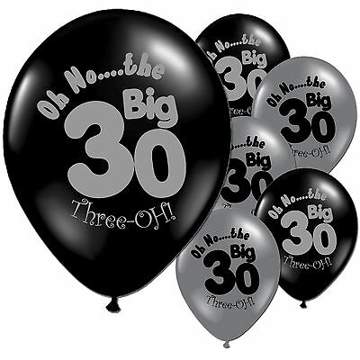 "20 Black Silver 30th Birthday 11"" Pearlised Latex Balloons"