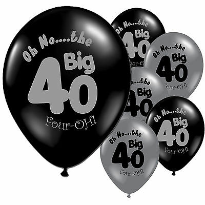"40 Black Silver 40th Birthday 11"" Pearlised Latex Balloons"