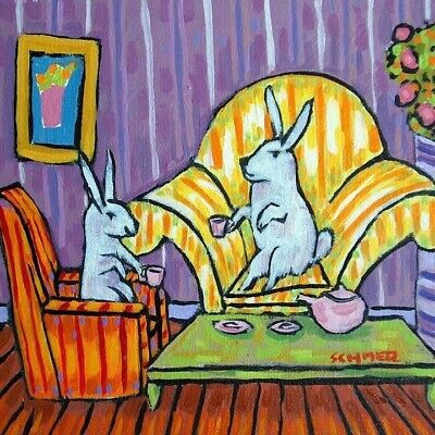 bunny rabbit tea party coaster ANIMAL art tile coaster