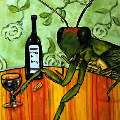 praying mantis wine ceramic insect art tile coaster new