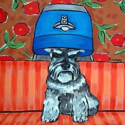 schnauzer at the salon picture animal dog art tile coaster gift pet