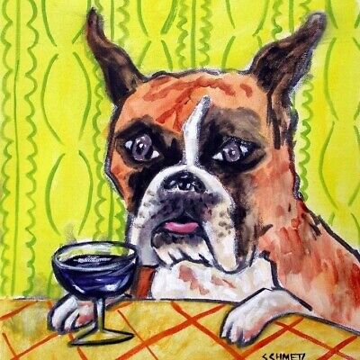 Boxer at the wine bar dog art tile coaster gift artwork yellow background