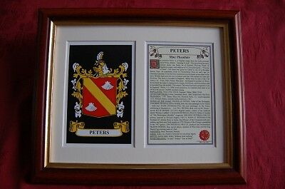 Peters FRAMED Heraldic Coat of Arms Crest + History