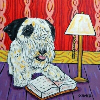 SEALYHAM Terrier reading picture dog art tile COASTER gift artwork
