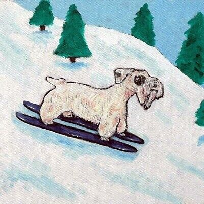 SEALYHAM Terrier SKIING picture dog art tile COASTER