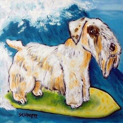 SEALYHAM Terrier surfing picture dog art tile COASTER