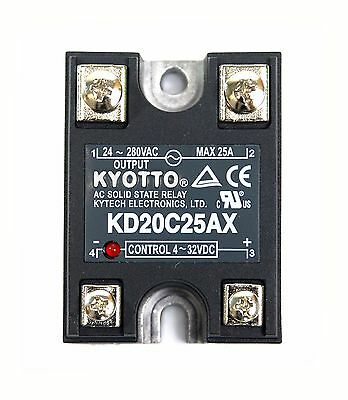 1pc KYOTTO AC Solid State Relay SSR KD20C25AX 280VAC 25A [ DC to AC ] UL Taiwan