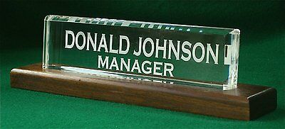 Name Plate Office Desk 1 inch thick Acrylic Wood New