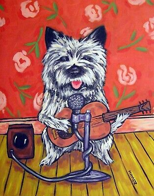 CAIRN TERRIER GUITAR reproduction of painting 8x10 signed art PRINT gift new