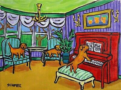 BORDER TERRIER PIANO dog prints 8x10 signed art PRINT artist animals