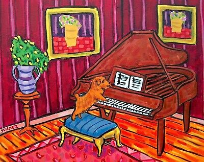 Norfolk terrier piano 8x10 signed artist prints animals impressionism gift new