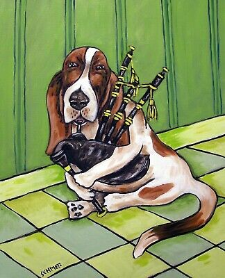 basset hound PLAYING BAGPIPEs DOG art print 8x10 signed