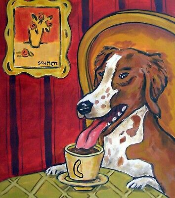 brittany coffee dog animal ceramic art tile coaster