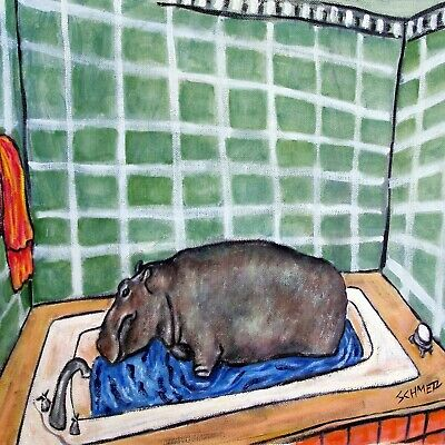 hippopotamus hippo bath ceramic art tile coaster gift