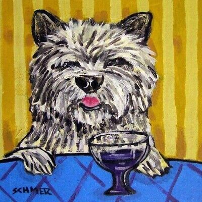 Cairn terrier at the wine bar dog art tile coaster gift