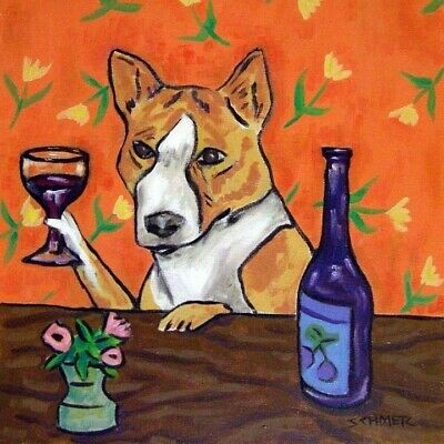 Basenji at the wine bar dog art tile coaster gift artwork