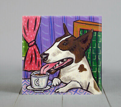 bull terrier at the coffee shop dog art tile coaster