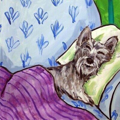 schnauzer napping picture dog Coaster animal art tile gift artwork
