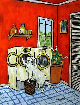 GREAT PYRENEES LAUNDRY dog pet art print 8x10 poster