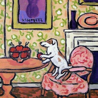 jack Russell Apple thief dog art tile picture dog gift