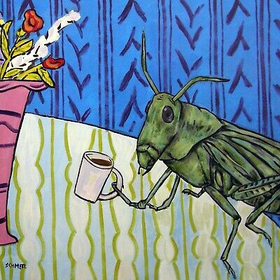 grasshopper coffee picture ceramic insect art tile gift