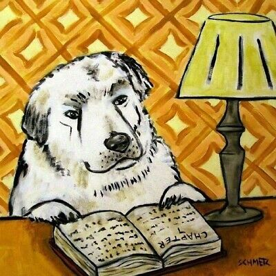 great pyrenees reading a book dog art tile coaster gift