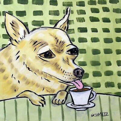 chihuahua at the cafe coffee shop green dog art tile coaster gift