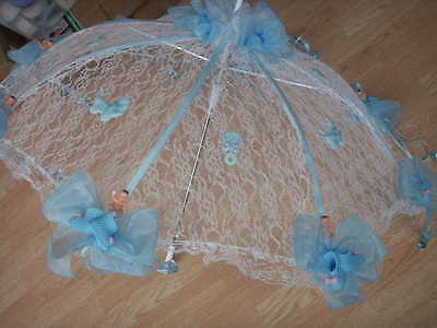 """32/"""" White Lace baby shower umbrella blue babies /& pins"""