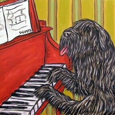 Bouvier Des Flandres playing piano dog art tile coaster gift music room artwork