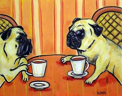 2 PUG coffee shop 8x10 picture dog art print POSTER PET