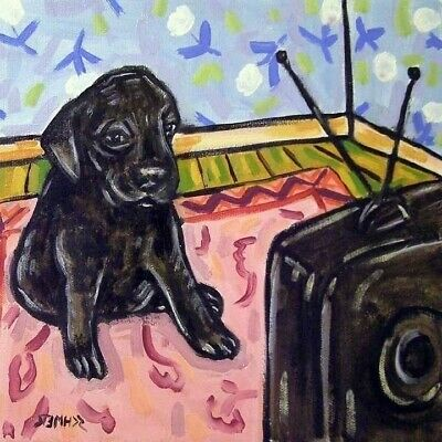 BABY BLACK LABRADOR  WATCHING TV animal dog art tile